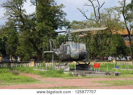 HUE, VIETNAM - JANUARY 08, 2016: View of the american multi-purpose helicopter Bell UH-1