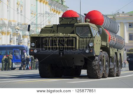 ST. PETERSBURG, RUSSIA - MAY 05, 2015: Launcher anti-aircraft missile systems S-300PM on rehearsal of parade in honor of Victory Day