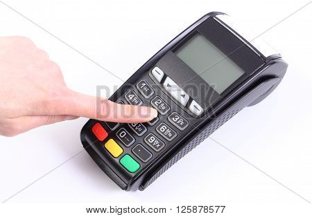 Hand of woman using payment terminal enter personal identification number credit card reader cashless paying for shopping