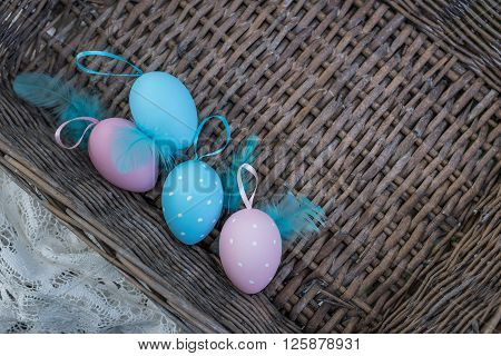 Painted Easter Eggs In Basket, Top View