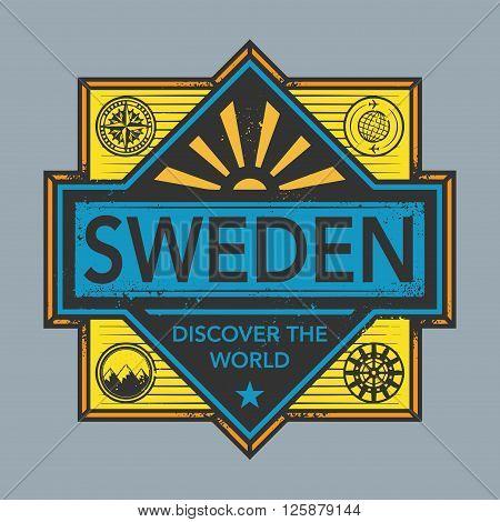 Stamp or vintage emblem with text Sweden, Discover the World, vector illustration