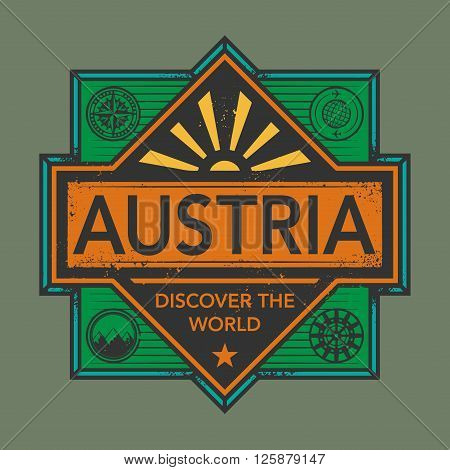Stamp or vintage emblem with text Austria, Discover the World vector, illustration
