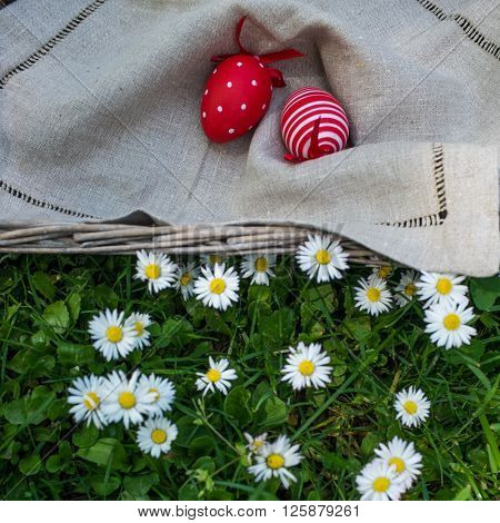 Red Painted Easter Eggs And Fresh Flowers, Top View
