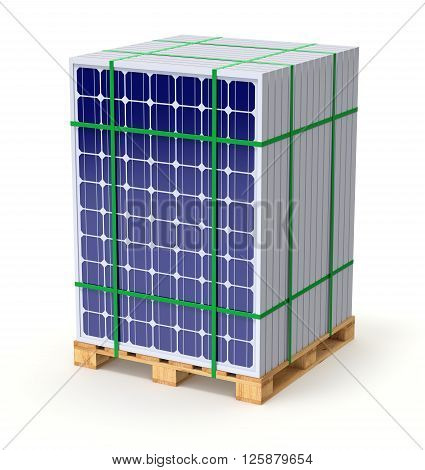 Solar panels on the pallet ready for transport - 3D illustration