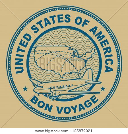 Air mail or travel stamp United States theme, vector illustration