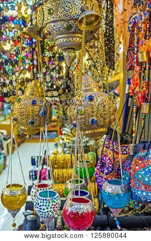 The colorful oil lamps and arabian lights in the souvenir stall of Arab Souq Jerusalem Israel. ** Note: Visible grain at 100%, best at smaller sizes