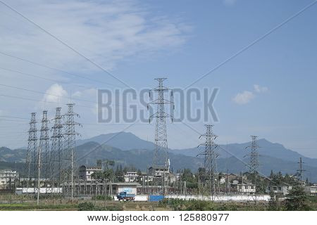 Electricity Pylon, Shot In Sichuan Province, China