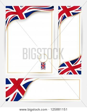 Design templates for flyers posters certificates and documents with flag of Great Britain