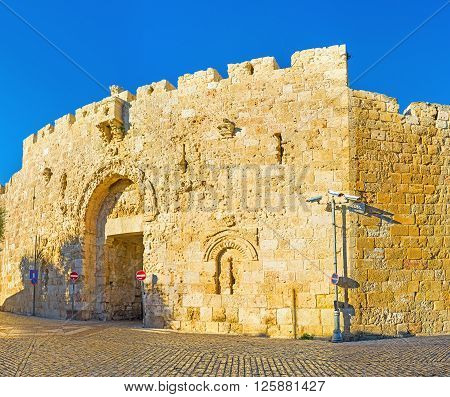 The Zion Gate located between the Mount Zion with its landmarks and the Armenian Quarter of old Jerusalem Israel.