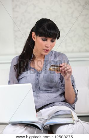 Woman making online purchases
