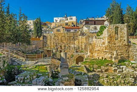 JERUSALE, ISRAEL - FEBRUARY 16, 2016: The site next to the ancient Bethesda pool was occupied by the Roman Temple then here was built the Byzantine Basilica nowadays it's the archaeological digs next to St Anne's Church on February 16 in Jerusalem Israel.