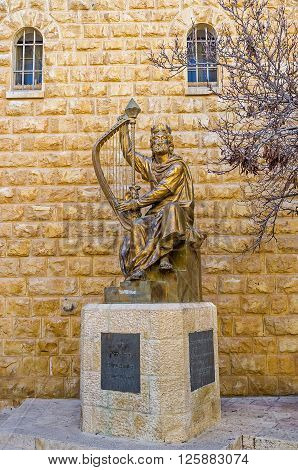 JERUSALEM ISRAEL - FEBRUARY 16 2016: The monument to King David located next to his burial site on the Mount Zion on February 16 in Jerusalem