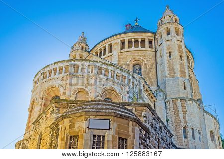 The apse of the Dormition Abbey on Mount Zion located just outside the city walls of Jerusalem Israel.
