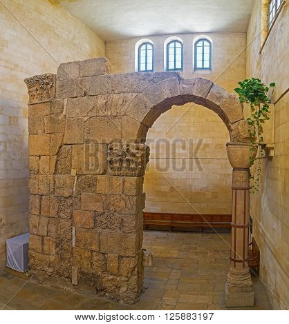 JERUSALEM ISRAEL - FEBRUARY 16 2016: The Russian Excavations of original 4th-century Holy Sepulchre church inside of the Orthodox church of Alexander Nevsky on February 16 in Jerusalem.