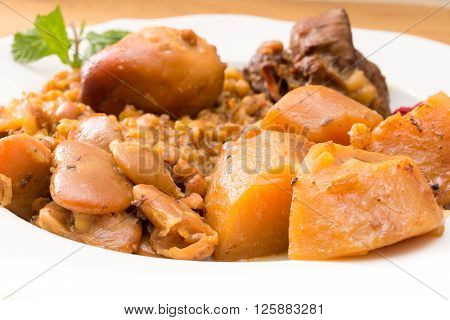 Traditional Jewish Cholent (hamin) From Israel Served With Horseradish Sauce