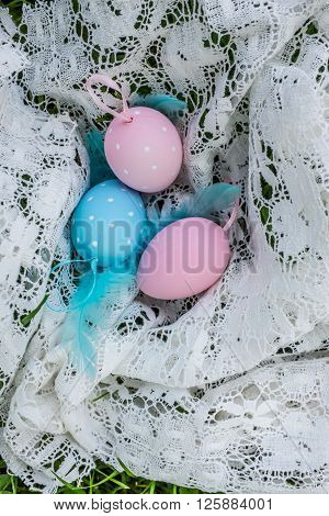 Easter Eggs In Decorative Table Cloth, Top View