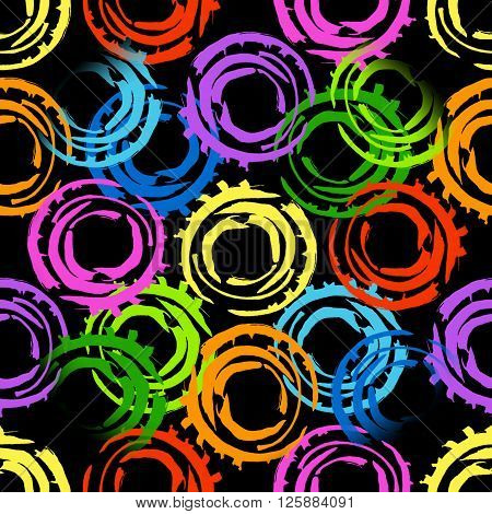 Abstract seamless pattern with big intersected painted circles. Colorful hand drawn print for summer fall fashion with random round shapes. Bright colors on black background