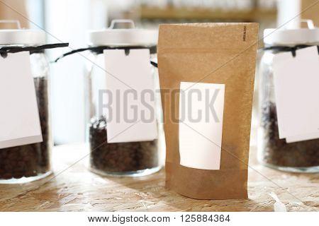 Coffee shop, jars of coffee beans .