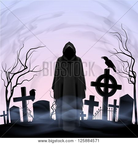Faceless angel of death among graves in the cemetery. Twilight