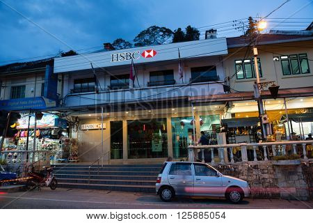 TANAH RATA, MALAYSIA - CIRCA FEBRUARY, 2015: Entrance to office of HSBC (Hongkong and Shanghai Banking Corporation). It is the world's third largest bank by assets, It was founded in London in 1991.