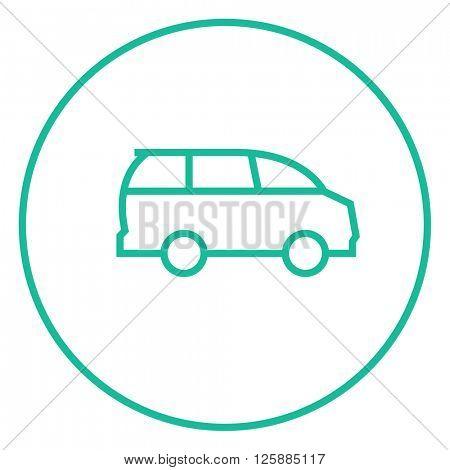 Minivan line icon.