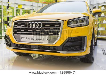 New Audi Q2 Car On Display At Fuorisalone 2016 In Milan, Italy