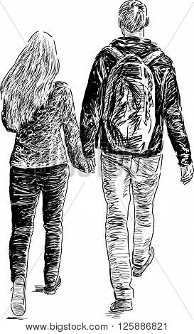Vector drawing of the pair of the students on a stroll.