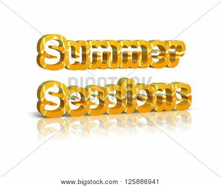 summer sessions - 3d word with reflection of summer sessions