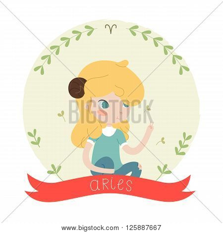 Cute horoscope. Zodiac signs. Aries. Series of cartoon zodiac characters. Horoscope for kids or teens, template for card, invitation, calendar or etc. Vector illustration of the girl isolated on white background.