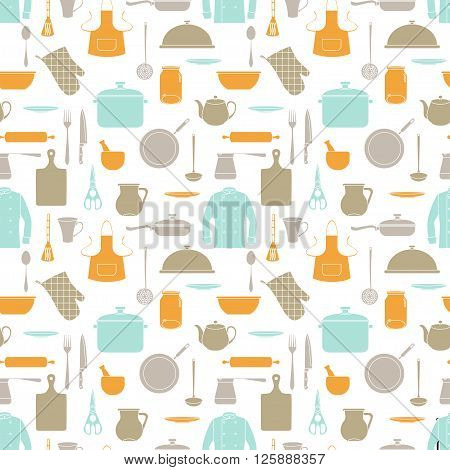 Seamless pattern with orange turquoise and gray silhouettes of kitchen devices and clothes. EPS 10