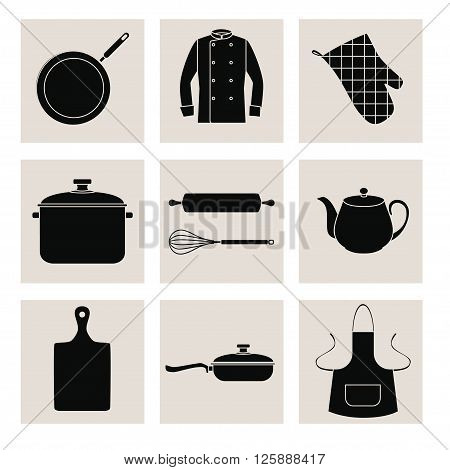 Collection of black silhouettes of kitchen devices and clothes. Set of black flat icons on pale gray squares. EPS 10.