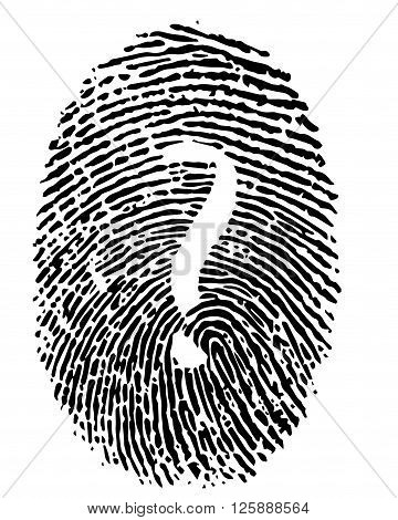 Digital illustration or drawing of a human finger print with a question mark