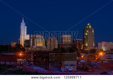 RALEIGH - APRIL 10: Skyline of Raleigh, NC during summer at dusk on  April 10, 2016 in Raleigh, NC, USA