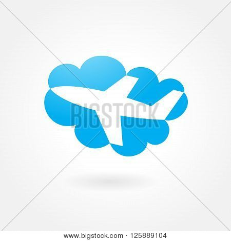 airplane flight tickets air fly cloud sky blue travel background takeoff symbol icon simple