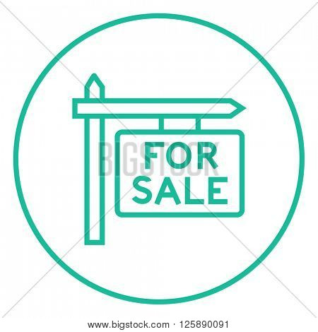 For sale signboard line icon.