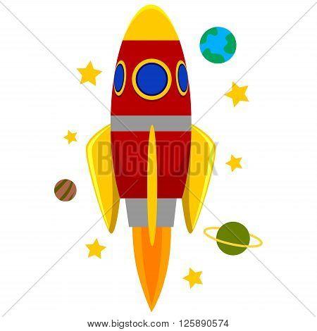 Vector Illustration of Rocket Ship flying in space