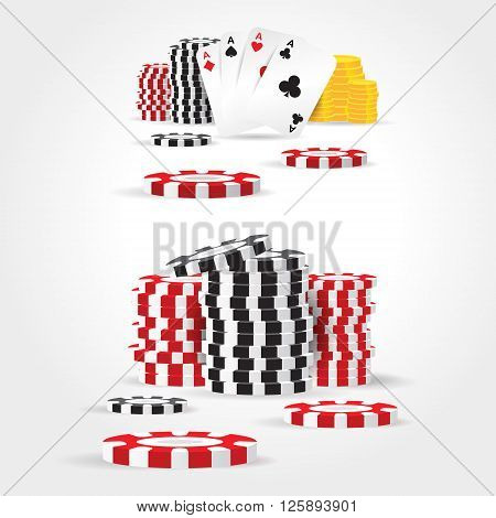 casino chips money cards game element set