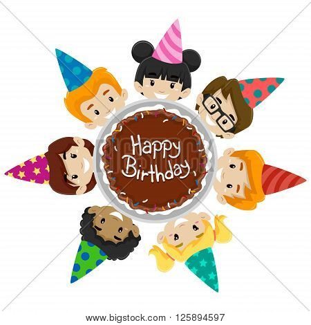 Vector Illustration of Kids, Diversity, around Birthday Cake