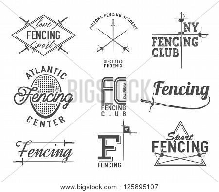Fencing icons vector set. Fencing emblems design elements. Fencing club badges.