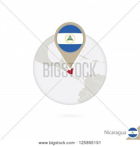 Nicaragua Map And Flag In Circle. Map Of Nicaragua, Nicaragua Flag Pin. Map Of Nicaragua In The Styl