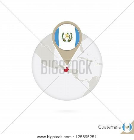 Guatemala Map And Flag In Circle. Map Of Guatemala, Guatemala Flag Pin. Map Of Guatemala In The Styl
