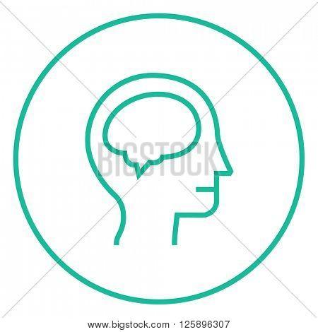 Human head with brain line icon.