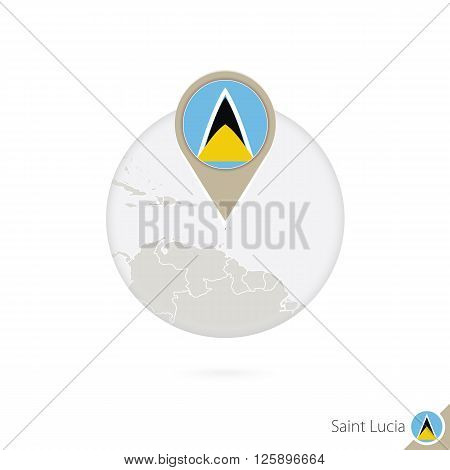 Saint Lucia Map And Flag In Circle. Map Of Saint Lucia, Saint Lucia Flag Pin. Map Of Saint Lucia In