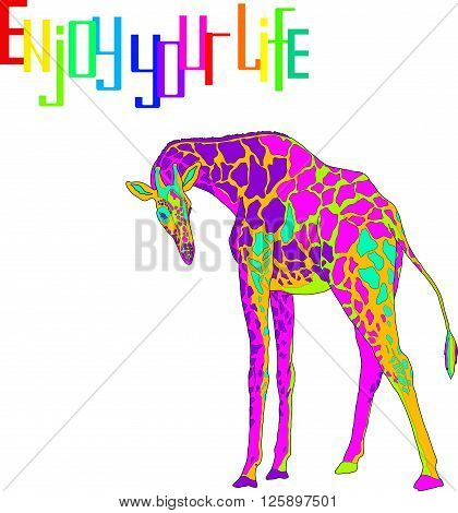Illustration with the image of multi-colored giraffe labeled Enjoy your life