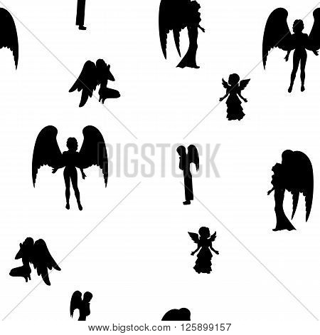 Vector illustration of a isolated silhouette of a black angel on a white background. Girl, boy and woman angels.