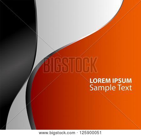 Orange, black background overlap dimension vector illustration message board for text and message design modern website