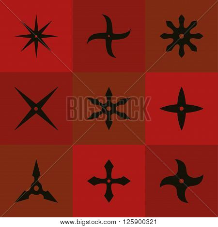 Set shuriken of ninja. Black icon. Vector illustration