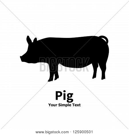 Vector illustration pet pig icon. Isolated silhouette on a white background.