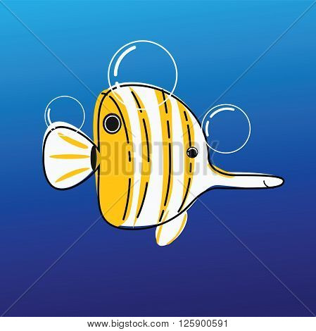 cartoon image of the sea butterfly fish.coral fish