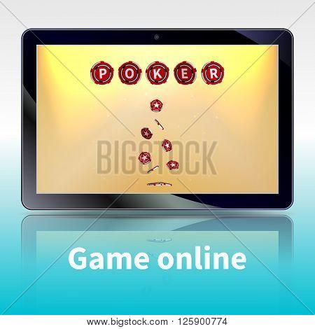 Vector illustration of video poker online games. Online games on the tablet.